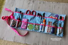 Roll Up Glove-box Essentials Caddy - A Free Sewing Tutorial from Doodlecraft Sewing Patterns Free, Free Sewing, Free Pattern, Sewing Kits, Quilting Patterns, Sewing Box, Sewing Tools, Sewing Hacks, Sewing Tutorials