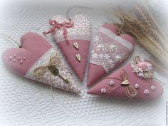 Купить Сердечки в стиле Тильда В цветах пыльных роз - сердце, сердце в подарок, сердечки