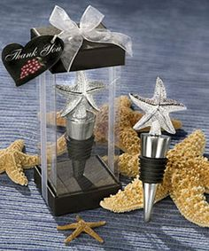 with these elegant starfish design bottle stopper favors on your event tables An exquisite symbol of renewal, regeneration and symmetry, the starfish is always a crowd pleaser. And these bottle stopper favors certainly give the starfish a starring role! Wine Wedding Favors, Wedding Shower Favors, Unique Wedding Favors, Wedding Themes, Wedding Gifts, Wedding Ideas, Wedding Stuff, Dream Wedding, Wedding Planning