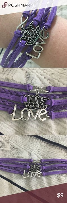 """👑 Love Crown Purple Cute Infinity Bracelet This infinity bracelet is layered all into one piece. It's simple and chic, a very classic style right now. 2"""" extension to adjust, fits virtually anyone. Love this!  We have lots of jewelry and accessories for sale, bundle up to save! Unbranded Jewelry Bracelets"""