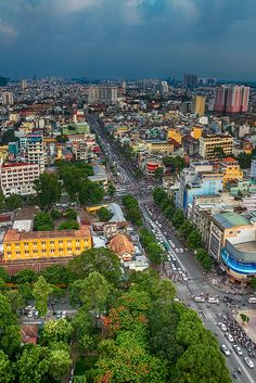 Downtown Saigon . . never thought it would be so colorful