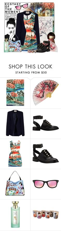 """""""Japanese Inspired"""" by gorgeautiful ❤ liked on Polyvore featuring Hedi Slimane, Balenciaga, Carven, Braccialini, Ray-Ban, Bulgari, StreetStyle, floral and spring2016"""