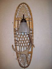 REAL WHITETAIL DEER-ELK-MOOSE-ANTLER SHED HORN SNOWSHOE SCONCE LIGHT/LAMP #30