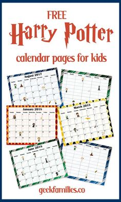 Free 2017-2018 Harry Potter Calendar and Planner for Kids