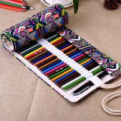 Escuela Estuche Escolar Caja Hermosa Papelería Bolígrafo De Lona Enrollable bolsas #wj