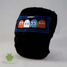 """Pac-Man Inspired - One-size (OS) Pocket Cloth Diaper and Microfiber Insert  """"This Diaper will help Pac-Man defeat his enemies: Inky, Pinky, Blinky and Poo.""""    https://www.etsy.com/listing/117327690/pac-man-inspired-one-size-os-pocket"""