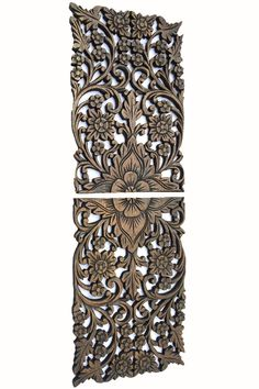 "Wood Wall Decor Lotus flower. Multi Panels Asian Home Decor. Unique Headboard Wall Panel 17.5""x12.5"" Set of 2 Brown"