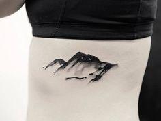 Watercolor Mountain Tattoo by joicewang.nyc