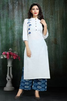 Wholesale Embroidered Occasional Wear Rayon Long Length Kurti With Long Sleeve Cataloge Kurta Designs Women, Kurti Neck Designs, Salwar Designs, Kurti Designs Party Wear, Blouse Designs, Indian Attire, Indian Outfits, Indian Designer Outfits, Designer Dresses