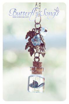Butterfly Tiny glass Bottle Necklace. Glass Vial by 13thPsyche