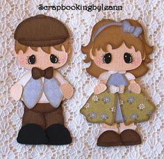 Vintage Girl & Boy Paper Piecing Set on Ebay <3 Scrapbook Images, Vintage Scrapbook, Scrapbook Paper, Book Crafts, Felt Crafts, Paper Crafts, Paper Dolls Book, Craft Punches, Vintage Boys