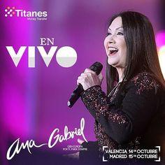 Se aproxima en gran concierto en Madrid y Valencia. La cantante mexicana Ana Gabriel se presenta en Madrid y Valencia en Octubre. Tienes una gran variedad de opciones de entradas ... Rancheras con sus mariachis y todo para que pasen una noche llena de recuerdos. #LatinosenMadrid  #Rancheras #Anagabriel #