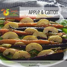 Purple carrots were the first cultivated carrots and were grown until the Dutch managed to grow orange carrots!  Purple and orange carrots are teamed with apple and fennel seeds for an earthy salad.