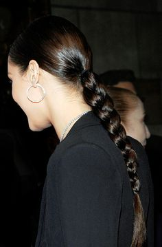 Obsessed with Bella Hadid's simple and sleek braid