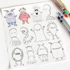 Robots, caras y monstruos. Dibujar, colorear e imprimir. - DecoPeques