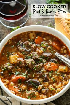 Slow Cooker Beef and Barley Stew from afarmgirlsdabbles.com #slowcooker #crockpot #stew #soup #beef #barley