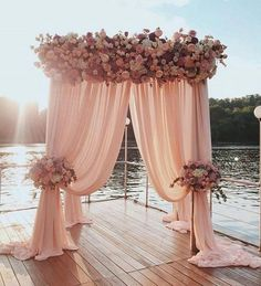 Popular wedding decorations the most popular waterfront wedding arch ideas arbor decorations rustic charming beach decoration Sage Wedding, Dusty Rose Wedding, Elegant Wedding, Floral Wedding, Wedding Colors, Trendy Wedding, Wedding Flowers, Outside Wedding, Wedding Ceremony