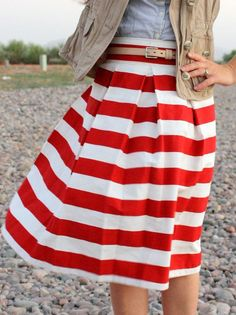 Red and White Striped Pleated Skirt | Gloss Fashionista