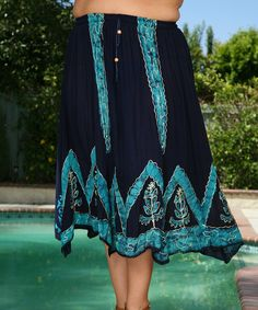 Love this Ananda's Collection Navy & Aqua Batik Handkerchief Skirt - Plus by Ananda's Collection on #zulily! #zulilyfinds