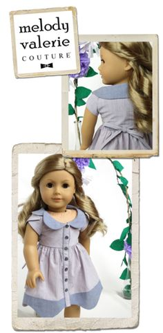 18 inch doll clothes pattern - Bluebelle dress from Melody Valerie Couture PDF instant download