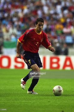 Raul of Spain runs with the ball during the Spain v Paraguay, Group B, World Cup Group Stage match played at the Jeonju World Cup Stadium in Jeonju, South Korea on June 7, 2002. Spain won the match 3-1.