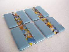 FUSED GLASS COASTERS Powder Blue Color by SunflowerGlassworks