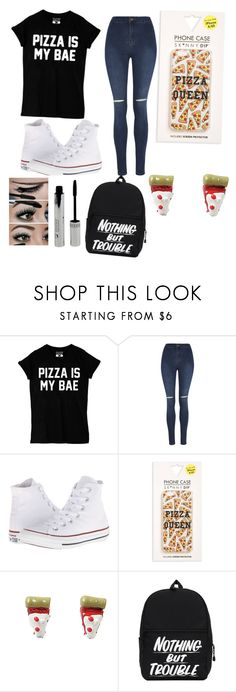 """Pizza is bae"" by prettylittleliers1 ❤ liked on Polyvore featuring George, Converse, Skinnydip, women's clothing, women's fashion, women, female, woman, misses and juniors"