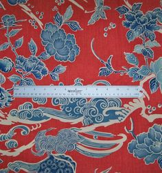 BRUNSCHWIG & FILS CHINOISERIE SHISHI DRAGON TOILE FABRIC 10 YARDS POPPY RED BLUE
