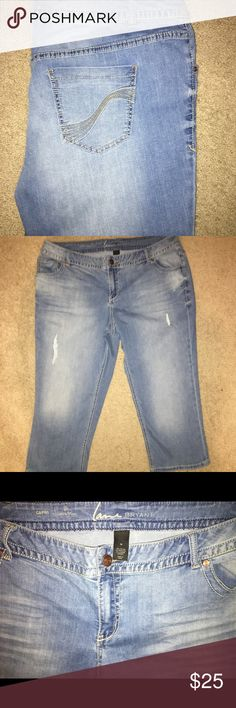 LANE BRYAND lightly destructed jeans LANE BRYANT medium wash lightly destructed Capri jeans. Can be rolled at the cuff for different heights. Size (20). LANE BRYANT Pants Capris
