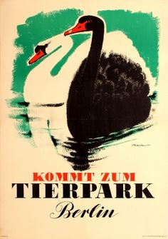 Berlin Zoo Tierpark Swans 1956 - original vintage poster by Meltan listed on AntikBar.co.uk