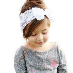 Headbands, Girls white lace headband with bow