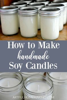 Learn how to make soy candles with this simple DIY tutorial. You can make homemade soy candles the easy way in an afternoon! Candles Make Your Own Mason Jar Soy Candles {Tutorial} Mason Jar Candles, Mason Jar Crafts, Mason Jar Diy, Soy Wax Candles, Candle Wax, Green Candles, Yankee Candles, Candle Craft, Natural Candles