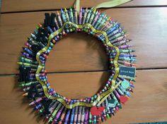 "14"" Crayola Crayon Wreath/ Teacher Gift/ Classroom Decoration on Etsy, $55.00"