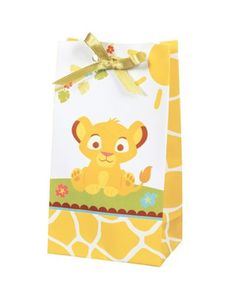 Lion King Baby Shower Favor Bags - We could make these ourselves so easily. I have been storing a cache of the white bags from the Bean in my desk, so we'd just have to design our own and print them.
