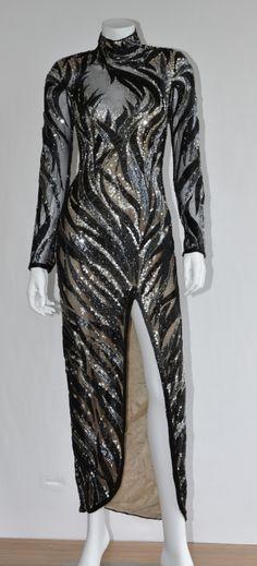 BOB #MACKIE BEAUTIFUL BEADED LONG  COCKTAIL DRESS.