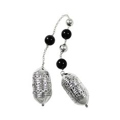Begleri, decorated with black agate stones and silver decorative beads. The design of the beads is inspired by a detail from a jewel of a greek female traditional costume. Decorative Beads, Black Agate, Agate Stone, Greece, Stones, Costume, Pendant Necklace, Drop Earrings, Jewels