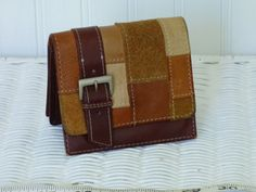 Hippie Happiness - Vintage Leather Wallet - Tri Fold Design - Double Snap - Billfold and Change Purse - Great Design - Clean Condition by ChicAvantGarde on Etsy