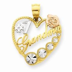 NEW SOLID 14K YELLOW GOLD WHITE ROSE YELLOW  #1 GRANDMA HEART CHARM PENDANT 22MM #Pendant