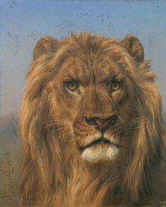 "Rosa Bonheur: ""Portrait of a Lion"", 1879, oil on canvas, Museo Nacional del Prado, Madrid , ( Spain )."