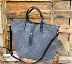 Waxed Canvas Tote with Leather Handles and Detachable by Zakken, $125.00