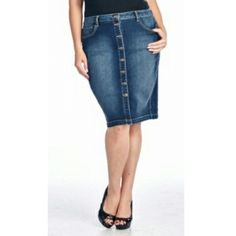 Plus Size Pencil Denim Skirt | Sizes: 1X-3X| Price $ 32.00| Order at www.jupedeabby.com