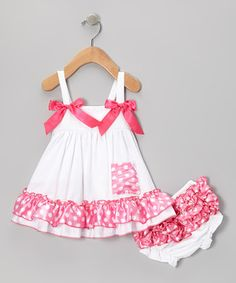 Another great find on #zulily! White & Pink Polka Dot Swing Top & Diaper Cover by Royal Gem #zulilyfinds