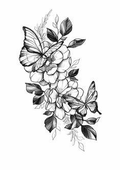 Flowers Tattoo Leg Floral 20 Ideas - Emily Way Flower Tattoo Designs, Tattoo Designs Men, Flower Tattoos, Butterfly On Flower Tattoo, Floral Back Tattoos, Tattoo Floral, Piercings, Piercing Tattoo, Tattoo Girls