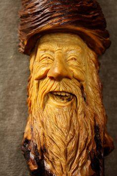 Wood Carving Wood Spirit Ooak Birthday Gift by TreeWizWoodCarvings, $120.00
