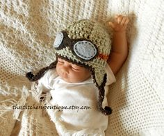 Baby boy  aviator hat  and goggles newborn boy rockateer pilot hat photo prop hat gray orange brown tweed wool crochet. $28.00, via Etsy.