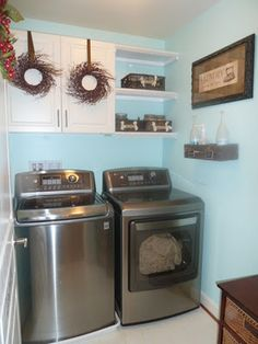 Our finished aqua/brown laundry room.