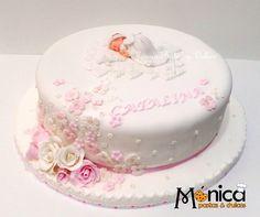 Torta de bautizo para Catalina, con detalles únicos en ella, elaborado por MONICA PASTAS Y DULCES. Garden Theme Cake, Christian Cakes, Christening Cake Girls, Baby Girl Cakes, Cata, Stork, Pretty Cakes, Baby Shower Cakes, Themed Cakes