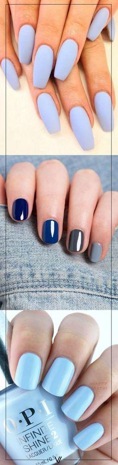 Los tonos azules son ideales para un mani este invierno.  #Uñas #Azul #Nails