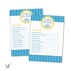 Your place to buy and sell all things handmade Baby Shower Party Games, Baby Shower Favors, Baby Boy Shower, Wishes For Baby Cards, Prince Party, Party Activities, Party Signs, I Got You, Yellow Stripes