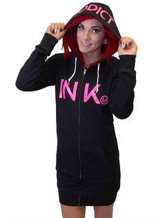 """Women's+""""Ink""""+Zip-Up+Hoodie+Dress+by+Inkaddict+(Black/Pink)"""